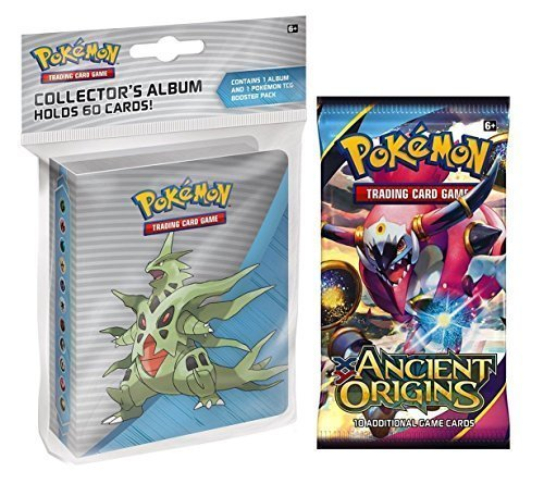 Pokemon X & Y Ancient Origins Mini Binder - Featuring Mega Tyranitar Mega Ampharos Mega Sceptile + Booster Pack (Pokemon Mini Card Binder)