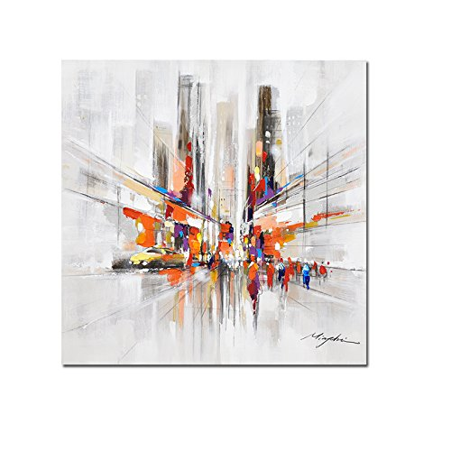 FREE CLOUD Crescent Art Abstract Modern City Painting Street View Wall Art for Living Room, Original Designed Canvas Painting on Print Unframed (24 x 24 inch)