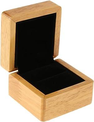 IPOTCH Caja de Madera Terciopelo Estuche para Anillo Regalos Embalaje: Amazon.es: Joyería