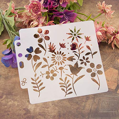 ShapeW Flower Bullet Journal Stencil Plastic Planner for Journal/Notebook / Diary/Scrapbook DIY Drawing Template Stencil -13X14CM by ShapeW (Image #2)