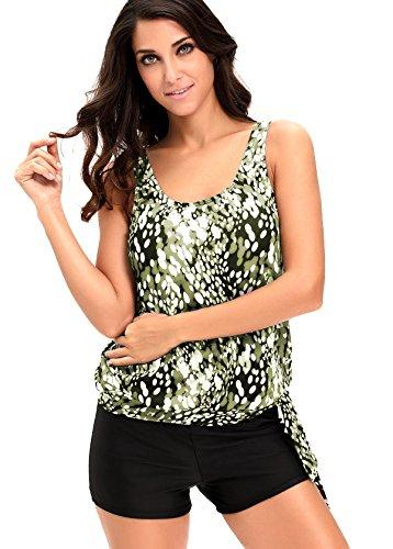 21db1a48a2391 Alvaq Women Two Piece Swimsuits Printed Slimming Tankini Tops Boyshort Set (S-XXXL)