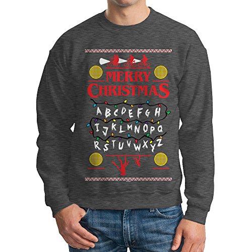 Men's Merry Christmas Upside Down Crewneck Sweatshirt (Charcoal, (Christmas Sweater Upside Down Snowman)