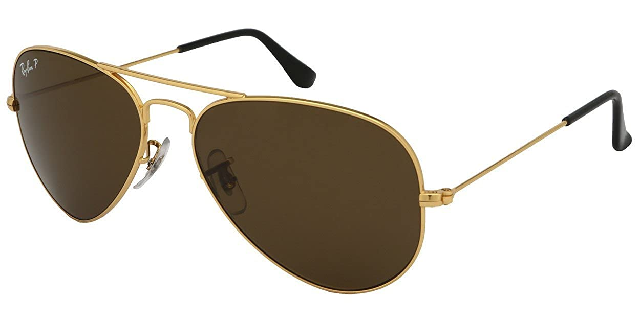 05be28aa324 Ray-Ban Aviator 3025 RB 3025 001 57 62mm Gold Frame Brown Polarized   Amazon.co.uk  Shoes   Bags