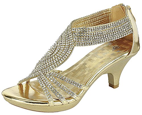 Cambridge Select Women's Open Toe Crisscross Strappy Crystal Rhinestone Mid Heel Sandal,6.5 B(M) US,Gold