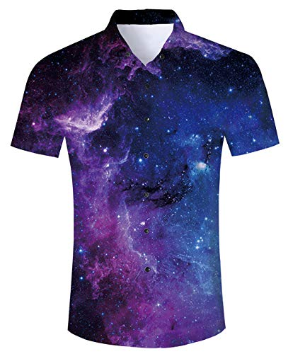 UNIFACO Mens 3D Galaxy Nebula Star Cluster Button Down Shirt Cool Graphic Tops Tshirt for Summer Casual Party