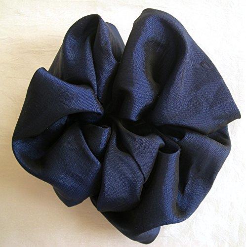 Blue Taffeta Hair Scrunchy-Large - Made in the (Sapphire Taffeta)