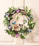 "14"" Dia. Springtime Easter Garden Floral Wreath Wall Hanging Door Display Spring Birds Flowers Butterflies Decoration"