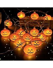 Aischens Ljusslingor Halloween pumpa ljus 5 m 40 lysdioder halloween dekoration pumpa ljusslinga, 3D LED-lina lampor, rum trädgårdar korridorer inomhus utomhus party halloween dekoration – varm vit