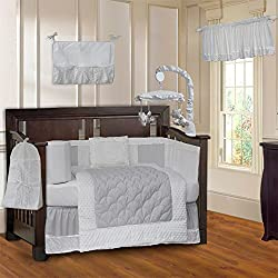 BabyFad Minky White Unisex 10 Piece Baby Crib Bedding Set