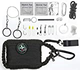 A2S Survival Gear Paracord 30pcs Emergency Kit First Aid Kit & Emergency Food Finding Fishing Gear Compass Emergency Whistle Fire Starter Set Survival Knife & More (Black, Large)