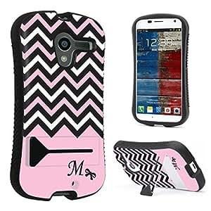 DuroCase ? Motorola Moto X 1st Gen. 2013 Kickstand Case - (Black Pink White Chevron M)