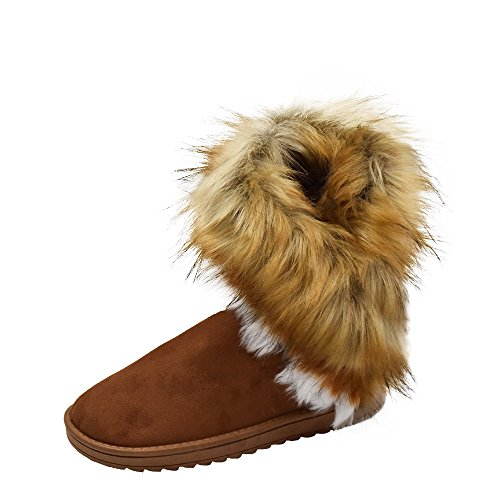 Snow Warm Ankle Long Fur Rabbit Boots High Tassel Winter Brown Women Faux Shoes Gaorui ETxnACqgT