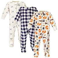 Hudson Baby Baby Zipper Sleep N Play, Forest 3 Pack, 0-3 Months (3M)