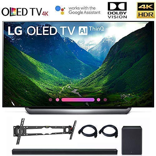 "LG OLED65C8 OLED 65C8 OLED65C8PUA 65"" C8 OLED 4K HDR AI Smart TV (2018 Model), LG SK8Y 2.1 ch High Res Audio Sound Bar, Wall Mount, 2HDMI Cables. LG Authorized Dealer!"
