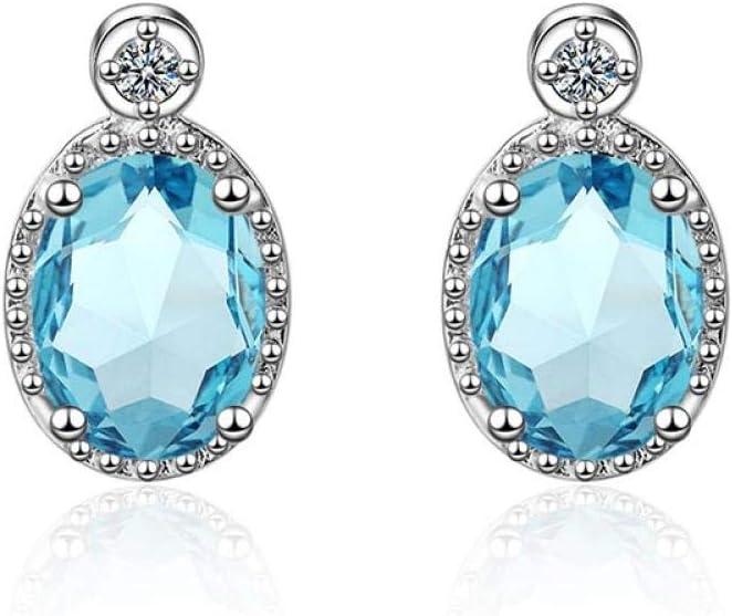 Niaofeces Arete Pendientes Clásicos De Plata 925 para Mujer con Piedras Preciosas Ovaladas con Forma De Aguamarina Regalo De Fiesta De Compromiso De Joyería Azul