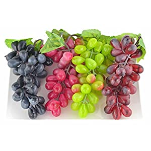 JEDFORE 4 Bunches of Artificial Black,Red, Green and Purple Grapes Fake Fruit Home House Kitchen Party Wedding Decoration Photography - 4 Colors 2