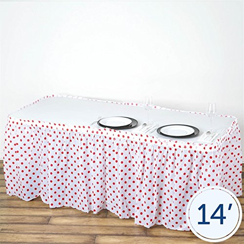 (BalsaCircle 2 pcs 14 feet x 29-Inch Red Plastic Polka Dots Waterproof Table Skirts Linens Wedding Party Event Decorations Catering)