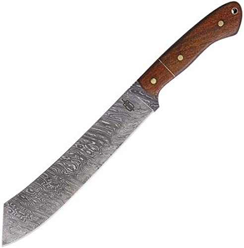 BucknBear Custom Handmade 1095 Damascus Utility Fixed Blade Machete Knife Walnut Handle 9 Damascus