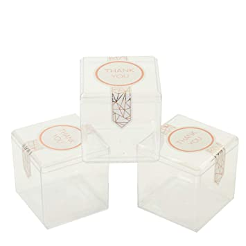 Andaz Press Candy Favor Boxes 3 x 3 x 3-Inch, Clear Hard Plastic Acrylic  Candy Box Cubes, Favor