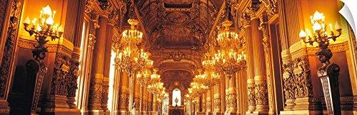 19th Century Chandelier - Canvas on Demand Wall Peel Wall Art Print entitled Interior Opera Paris France 48