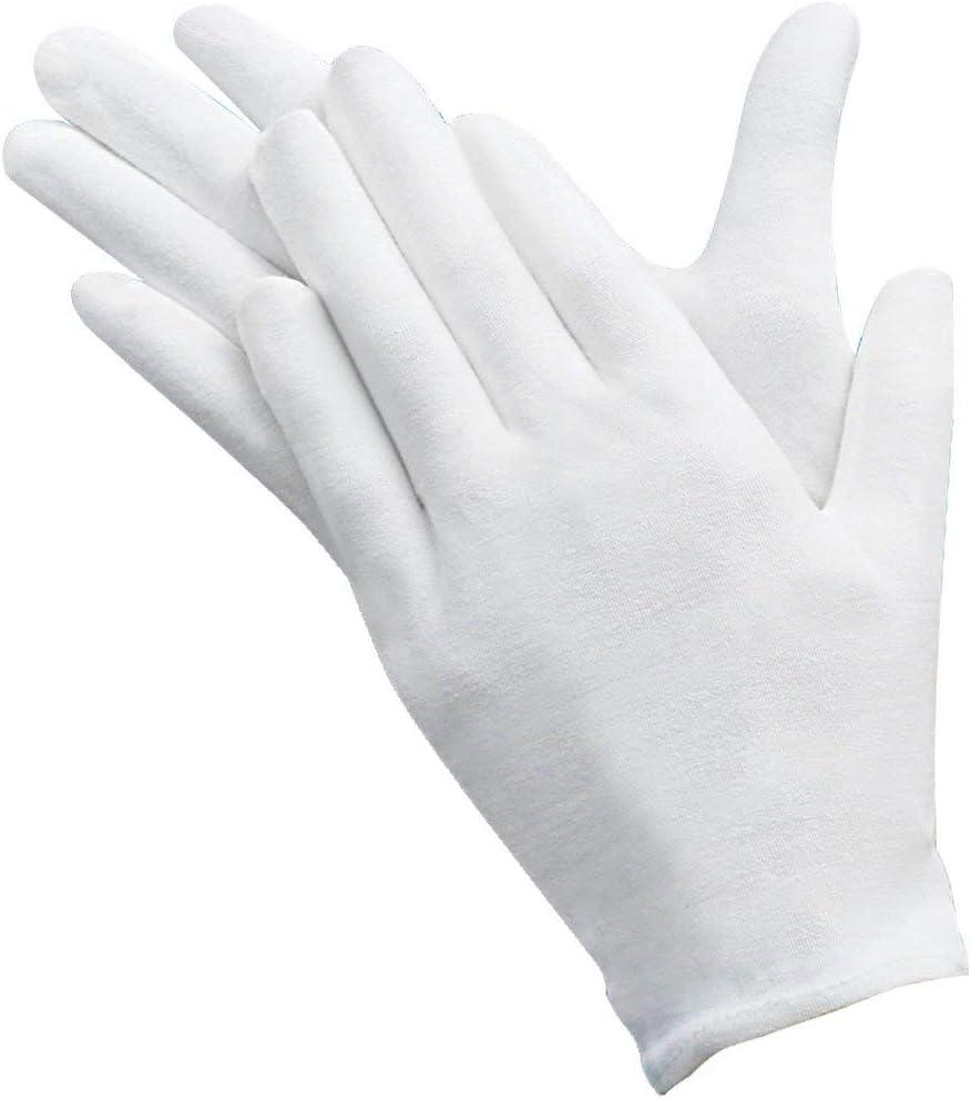 Incutex 4 paires de gants de tissu en coton blancs taille L