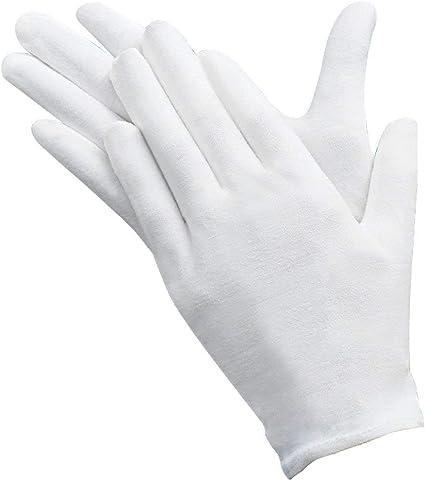 12 pares Guantes de algodón blanco Guantes de Tela Guantes terapéuticos hidratantes cosméticos para manos secas, belleza, monedas, joyería e inspección de plata – Unisex: Amazon.es: Belleza