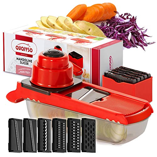 Vegetable Slicer and Dicer - Mandoline Slicer Veggie Chopper with 6 Interchangeable Stainless Steel Blades Food Fruit Julienne Slicer Cutter Chopper Grater for Eggplant Potatos Onions Zuchinni Fries