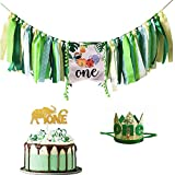 Safari Jungle Theme 1st Birthday Decorations, Safari Jungle Animal One Highchair Banner, Elephant Glitter Gold One Cake Topper with Green One Crown for Baby Boy Girl 1st Birthday Party Supplies. Wild One Birthday Highchair Decorations.