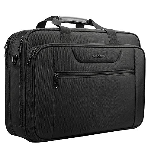 KROSER 18.5' Laptop Bag XXL Laptop Briefcase Fits Up to 18 Inch Laptop Water-Repellent Gaming Computer Bag Shoulder Bag Expandable Capacity for Travel/Business/School/Men-Black
