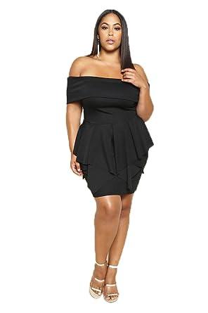 a37eda7140 Fashiongo Black Tulip Dress (Plus) at Amazon Women s Clothing store