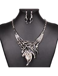 Vintage Style Tribal Gray Enamel Leaf Cluster Choker Necklace Stud Earrings Set