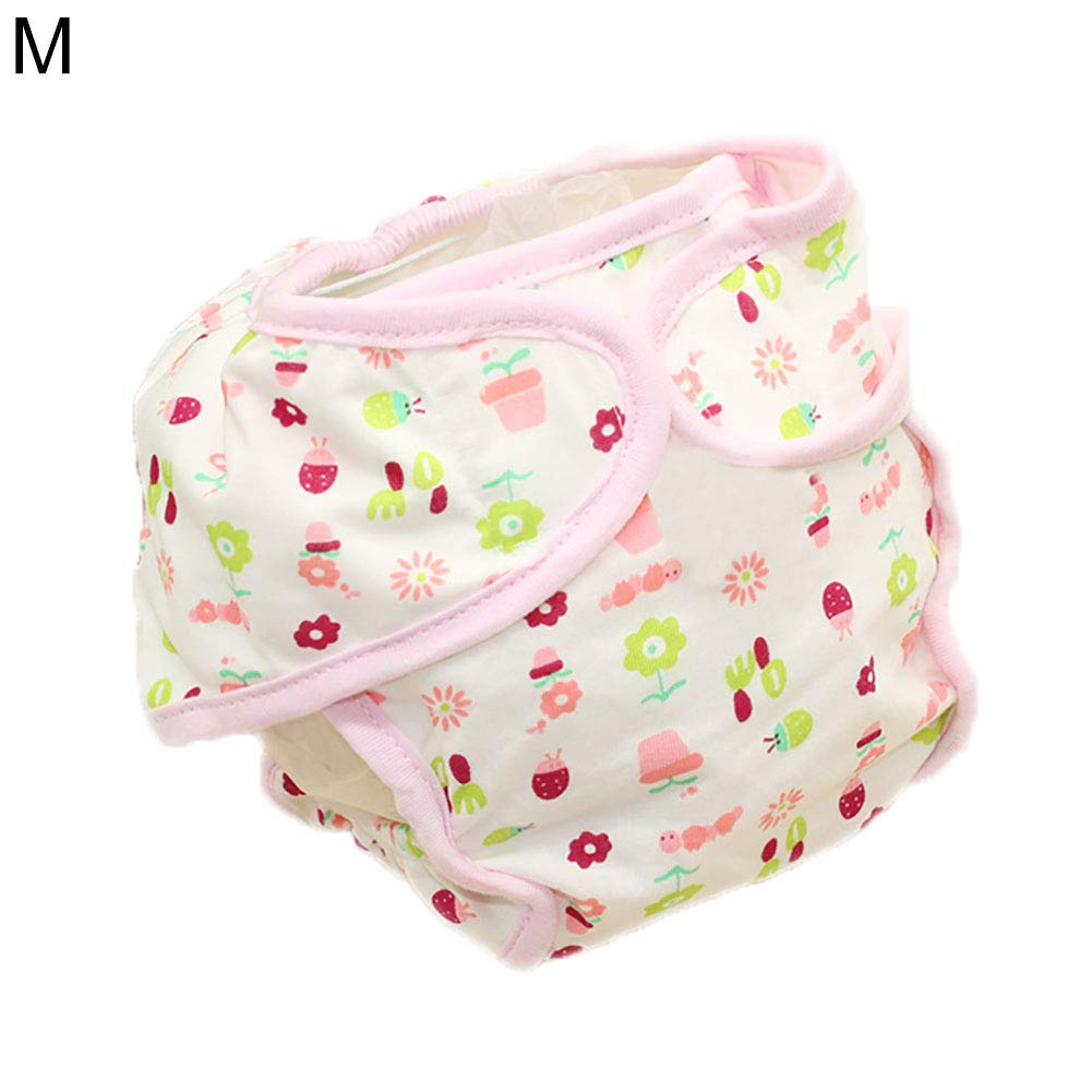 SuBoZhuLiuJ Baby Diaper Pants,Lovely Cartoon Reusable Baby Infant Cotton Nappy Washable Diaper Pants Underwear Beetle Flower M