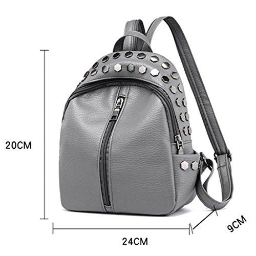 PU Bag Student Kids Rivet Women Shoulder Leather Women's Girls Fashion School Backpack Zipper Preppy Backpacks Silver Gray Backpack Small xnIqFRn