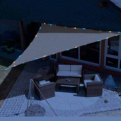 KUD Shade 12 x12 x12 Triangle Sun Shade Sail with Waterproof String Lights Solar Energy Canopy Perfect for Outdoor Garden Patio Permeable Romantic Atmosphere UV Block Fabric Durable Sand Color