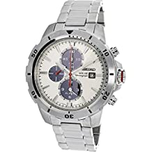 Seiko Men's 45mm Steel Bracelet & Case Hardlex Crystal Solar Silver-Tone Dial Analog Watch SSC553