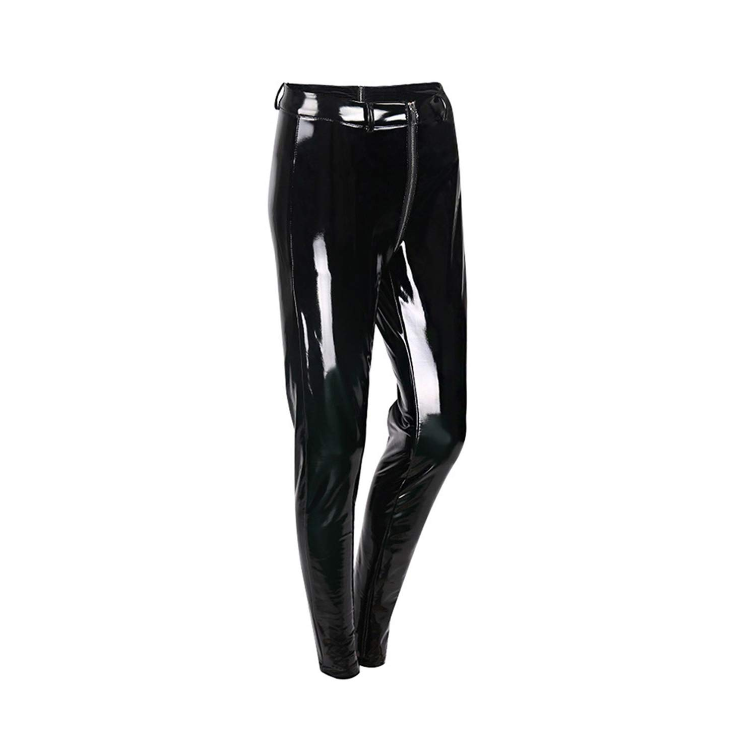 Black blueeshore Women Solid Back Red Zipper Pants Spring Autumn Lady PU Leather Pencil Pants Female Trousers