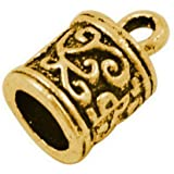 Pack Of 20 x Antique Gold Plated Alloy 6mm Kumihimo Tibetan End Caps - (HA03275) - Charming Beads