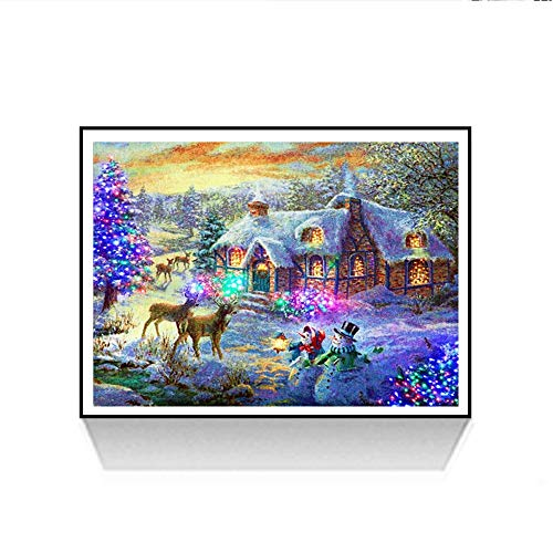 Freeby 5D DIY Diamond Painting kit Rhinestone Embroidery Cross Stitch Arts Craft for Christmas Home Wall Decor, Winter Snow Scenery (Multicolor, ()