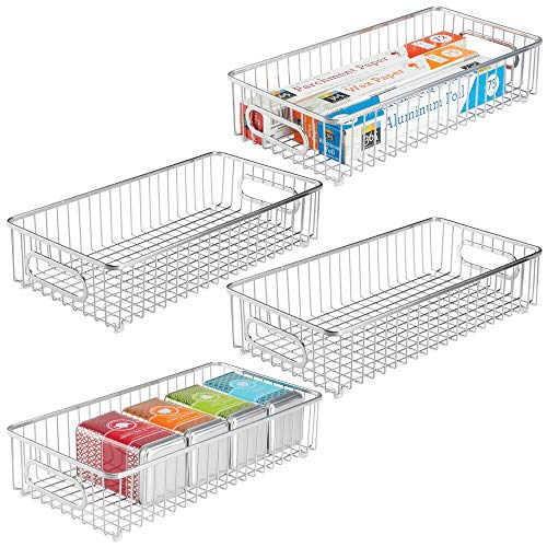 mDesign Extra Long Household Metal Drawer Organizer Tray, Storage Organizer Bin Basket, Built-In Handles - for Kitchen Cabinets, Drawers, Pantry, Closet, Bedroom, Bathroom - 8