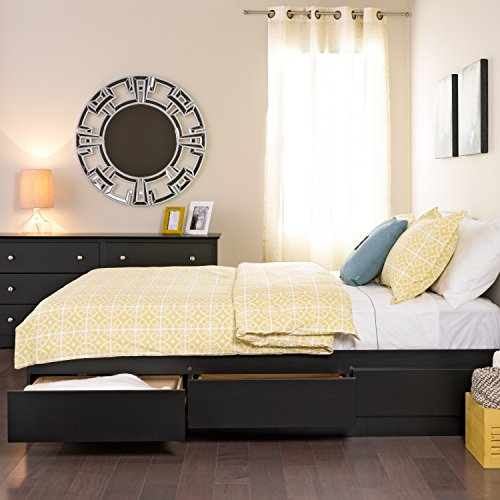 prepac black queen mate's platform storage bed with 6 drawers