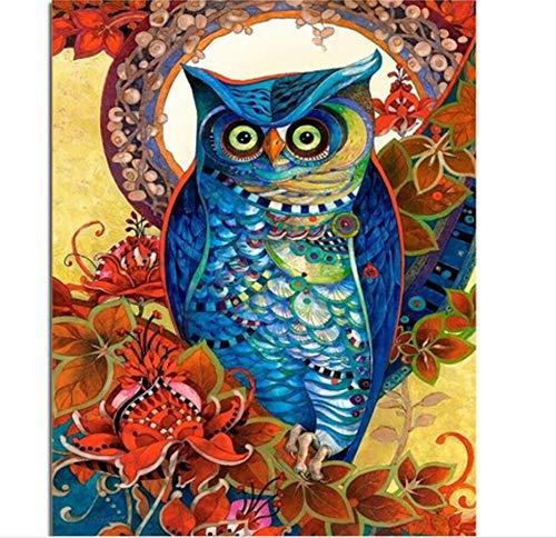 Agolong Vintage Owl DIY Malen nach Zahlen Acrylfarbe auf Leinwand Kit Tiere Malen nach Zahlen für Wohnkultur Kunst Rahmenlos 40x50 cm B07PJTZJKQ   Online einkaufen