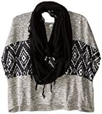 Beautees Big Girls' Boxy Top with Infinity Scarf