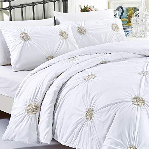 California Design Den Tahiti Pearls Duvet Cover Set, Full/Queen, White Metallic Gold, 3-Piece