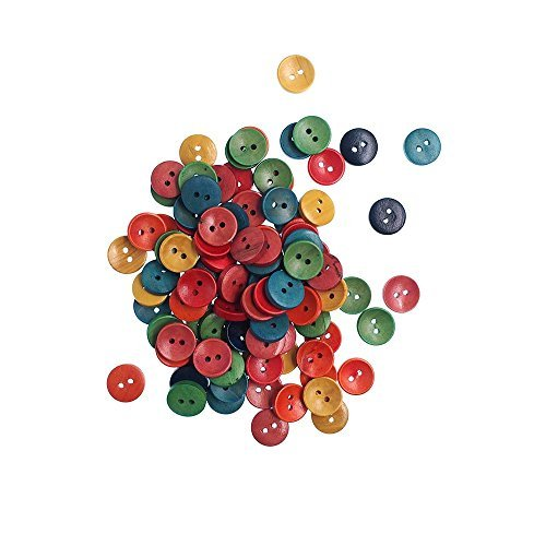 RayLineDo Pack of 100pcs Various Colors 15mm Round Buttons 2 Holes Concave Retro Wooden Buttons for DIY Sewing Crafting
