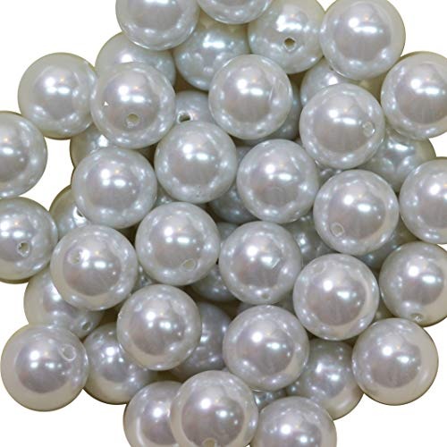 20mm Bulk Package 50 White Faux Pearl Solid Acrylic Chunky Bubblegum Beads Loose Gumball Beads Lot (20mm Pearl Beads Bulk)