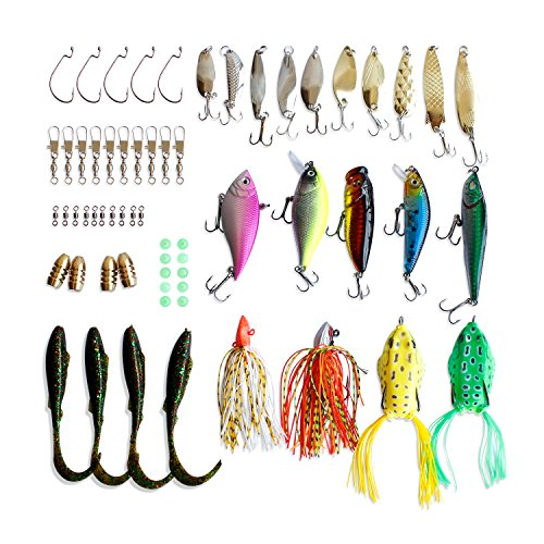 Fishing Lures Set Bass Baits Fishing Tackle – Including Top Water Lures Spoons Spinners Plugs Worms Jigs Tackle Box and More Fishing Gear Accessories – for Saltwater Freshwater