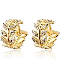 Womens 14K Gold Earrings Jewelry Stud Dangle Ear-Rings Willow Leaves