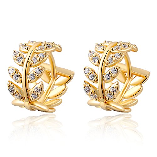 Women's 14K Gold Earrings Stud Dangle Willow Leaves Rhinestone (14k Gold Design Earrings)
