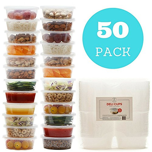 Plastic Food Storage Containers with Lids - Restaurant Deli Cups/Great for Slime, Party Supplies, Meal Prep and Portion Control - Leakproof and Microwave Safe Takeout Set - BPA Free (8 oz) by Healthy Packers