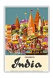 Varanasi India - Ganges River - (Banares, Banaras, Kashi) in Uttar Pradesh - Manikarnika Burning Ghat - Vintage World Travel Poster by Charles Baskerville c.1959 - Master Art Print - 13in x 19in
